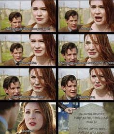 I haven't seen this episode yet, mostly because i don't want Amy and Rory to leave. Im gonna bawl my eyes out.