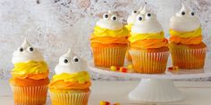 Mimic the layers of candy corn you love so much with these adorable cupcakes.