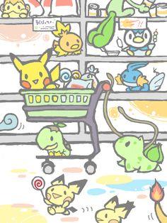 Treecko, Torchic, Piplup, Mudkip, Pikachu, Bulbasaur, Pichu Squirtle, Charmander, ... (by わび, TEGAKI blog)