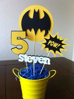 Superhero Centerpiece Toppers 1 set by Getcreativewithkay on Etsy, $14.00