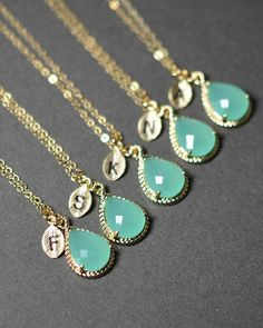 "Mint opal green gold necklaces for your Bridesmaids, with monogram. Give your ladies ""something blue"" too!"