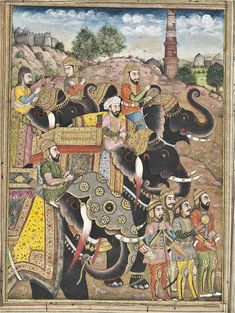 Parade of Elephants and Soldiers - Indian Miniature Painting, Kashmir, Circa 1800. For more high resoluton #Indian #arts please visit http://oldindianarts.in