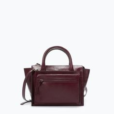 Discover the new ZARA collection online. Pantone, Purple Handbags, Zara Bags, Purple Leather, Real Leather, City Bag, Zara Shoes, Zara Women, Mode Style