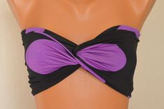 Black polka dot spandex twisted bandeau strappless bra by bstyle, $20.00