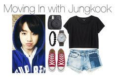 """""""Moving in with Jungkook"""" by kookiechu ❤ liked on Polyvore featuring Monki, Sans Souci, Converse, NLY Accessories, Shamballa Jewels and Fuji"""