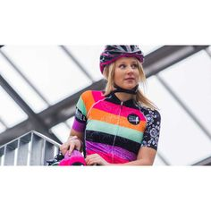 Funky colours with floral design on the side. With matching armwarmers. Funky Design, Floral Design, Arm Warmers, Cycling, Glamour, Rainbow, Colours, Sport, Sleeve