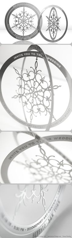 Snowflake metal wedding invitations mail flat, then transform into an ornament with a few easy folds of the metal. They're eco-friendly because guests keep them, AND they double as a favor. Perfect for a winter wedding.
