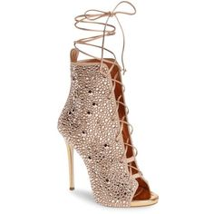 Women's Giuseppe For Jennifer Lopez Lynda Embellished Lace-Up Sandal (€2.800) ❤ liked on Polyvore featuring shoes, sandals, boots, heels, metallic gold, lace-up heel sandals, polish shoes, heels stilettos, lace up stilettos and lace up shoes