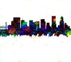 Portland Skyline by Enki Art Portland Skyline, City Skylines, Cities, Greeting Cards, Wall Art, City, Wall Decor
