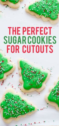 Perfect Frosted Sugar #Cookies for Cutouts | Looking for the perfect sugar cookie recipe for cutouts? This is it! Delicious, mildly flavored, and they don't spread in the oven! #sugarcookies #christmascookies #frostedcookies #frostedsugarcookies #bakingwithkids #cookiecutoutrecipe #christmasbaking