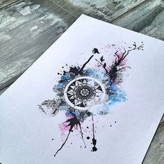 Abstract watercolor mandala with tree and birds #thebunette: