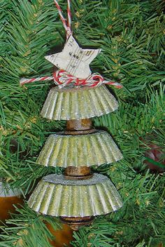 This is Susan and today I will be showing you how to make this adorable Sugared Tart Tin Tree. #thelittlebluehouse Christmas Ornaments To Make, Primitive Christmas, Country Christmas, Homemade Christmas, Christmas Projects, Winter Christmas, Holiday Crafts, Vintage Christmas, Christmas Holidays
