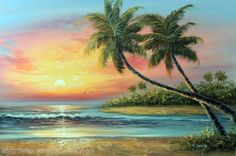 Painting: Tropical Island Sunset Orange Yellow Red Surf Palms Stretched Oil Painting - The Zedign House - Store Beach Sunset Painting, Hawaii Painting, Beach Art, Seascape Paintings, Landscape Paintings, Painting Abstract, Oil Paintings, Body Painting, Watercolor Trees