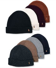 Polo Ralph Lauren Hat, Wool Signature Cuff - Hats, Gloves & Scarves - Men - Macy's