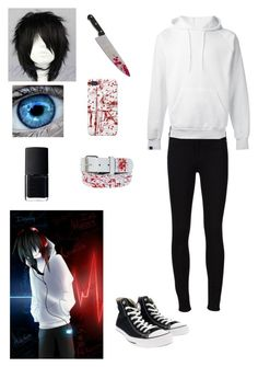 """Creepypasta: Jeff the Killer"" by ender1027 ❤ liked on Polyvore featuring Frame Denim, SWEAR, Converse and NARS Cosmetics"