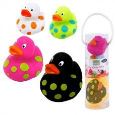 These adorably 'kool' rubber duckies are perfect for fun in the tub!          The brightly colored polka dot patterns capture baby's attention.      The classic rubber duckie design is ideal for little hands to grasp and hold.        Each set comes with 2 large and 2 small rubber ducks that are sure to become any baby's favored bath time companions.      Suitable for all ages.    Lead, BPA, phthalate, & cadmium free.  What are BPAs, Phthaltes, PVC's and Cadmium?
