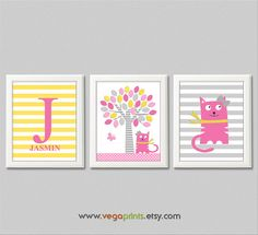 Baby girl Kitty and butterfly wall art print by VegaPrints on Etsy