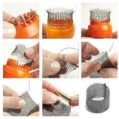 YoolaKnitter - Wire crochet knitter with automatic release - ISK knitter Spool Knitting, Easy Knitting, Wire Jewelry, Unique Jewelry, Jewelery, Yarn Crafts, Bead Crafts, Knit Bracelet, Bracelets