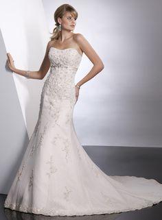 A-ligne sans bretelles robe de mariée en satin dentelle
