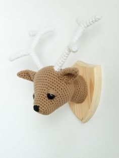 Crocheted deer head faux taxidermy by CreepyandCute on Etsy, €55.00