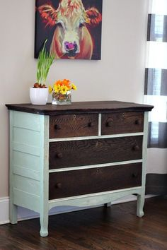 Dresser Makeover Kona and Creme de Menthe - perfect for the rustic farmhouse look