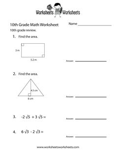 Use our printable grade math worksheets written by expert math specialists! Your students can practice their math skills with worksheets covering plane and . Math For 4th Graders, 10th Grade Math Worksheets, Math Practice Worksheets, Homeschool Worksheets, Algebra Worksheets, Printable Math Worksheets, Teacher Worksheets, Free Printable, Homeschooling