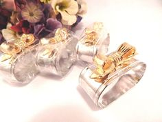 Napkin Rings Silver and Gold Plated Festive Formal Tableware Set of Four Unused…