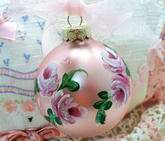 Hand Painted Roses Ornament