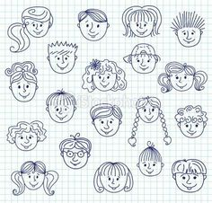 Set of smiley children faces. Doodle style illustration on a squared paper. Drawing Lessons, Art Lessons, Art Drawings For Kids, Drawing For Kids, Easy Drawings, Art For Kids, Drawing Ideas, Doodle Art, Doodle Drawings