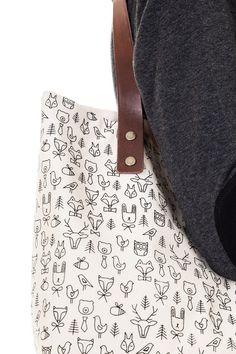 stylová taška s koženými uchy ANIMALS