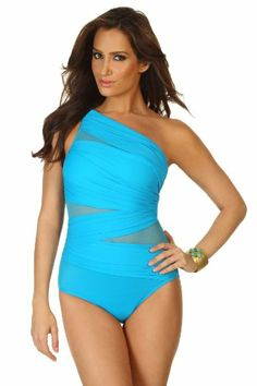 86da2ae20fc1a Miraclesuit Women s Miracle Network Asymmetrical One Piece Swimsuit  Turquoise 6 Miraclesuit