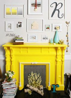 Three Inspirations: Blue Sofa / Yellow Fire Surround / Dotty Throw - Bright Bazaar by Will Taylor Paint Fireplace, Faux Fireplace, Fireplace Surrounds, Fireplaces, Fireplace Gallery, Fire Surround, Mellow Yellow, Bright Yellow, Yellow Bed