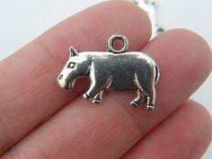 6 Hippo charms antique silver tone A21