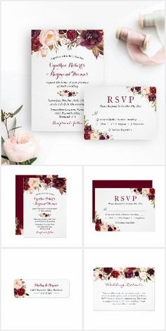 Wedding Invitation Suite: Burgundy Marsala Rustic Floral A Burgundy Marsala Red Floral Invitation Suite, with items from invitation to RSVP card, Thank You Card, Stickers, Address Label, Sign Poster, and more.