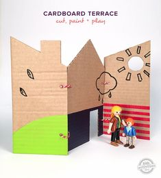 Cardboard Playhouse: How to Make a Fold-Up Terrace for hours of imaginative play // MollyMooCrafts.com for @hollyhomer