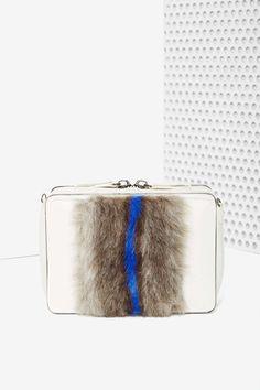 Stripe Down Faux Fur Crossbody