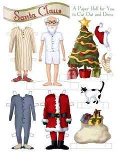 Santa Claus Paper Doll, via Etsy.