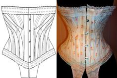 "ref J paper pattern for 18.50 inches ""JB.311"" corset hand drafted from antique collection."