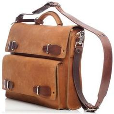 """JMB Light Brown Oiled Leather Urba Convertible 17"""" Laptop Briefcase Messenger and Backpack"""