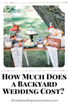 Trying to figure out the budget for your backyard wedding? How much will a backyard wedding reception cost? How much will a backyard wedding ceremony cost? See ideas for a backyard wedding on a budget, a simple backyard wedding or a small backyard wedding. Includes sample budget for a $2000 backyard wedding, a $7000 backyard wedding and a $10000 backyard wedding.<br> Elegant Backyard Wedding, Backyard Wedding Dresses, Backyard Wedding Lighting, Rustic Wedding Backdrops, Wedding Decorations On A Budget, Wedding Reception, Wedding Ideas, Wedding Bells, Wedding Stuff