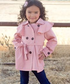 Another great find on #zulily! Pink Ruffle Swing Trench - Toddler & Girls #zulilyfinds