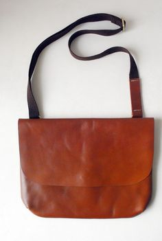 Brown Genuine Organic Tanned Leather Mensenger Bag by PropsDesigns, $139.00