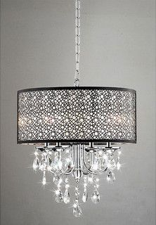 Indoor 4-Light Chrome/Crystal/Metal Bubble Shade Chandelier - contemporary - chandeliers - by Overstock