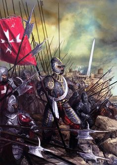 Hospitaller knights defending Malta during the Great Turkish Siege of 1565