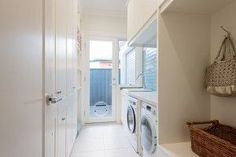 laundry and mud room with glass door to outside to creAte light Laundry Doors, Laundry In Bathroom, Laundry Appliances, Home Appliances, Scullery Ideas, Compact Laundry, Laundry Powder, Hamptons House, Home Pictures
