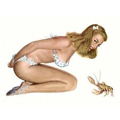 ac1ec41d804 Pinup Blonde In Polka Dot Bikini Canvas Art - (18 x 24) - Walmart.com