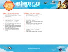 2015 Summer Reading Challenge Booklist - SPANISH VERSION, page 2. #summerreading