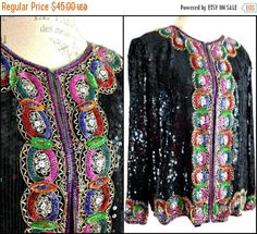 0203fa93887 Items similar to ViNtAgE 80s Black Sequin Jacket Rainbow Slouchy Coat  Sequined Beaded Deco Embellished Gatsby Cocktail Party Trophy Dress Top  Blouse Glam on ...