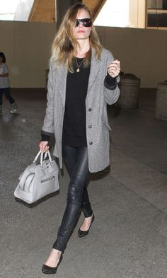 Grey | Isabel Marant Coat | Kate Bosworth, love this combination of colors and materials.