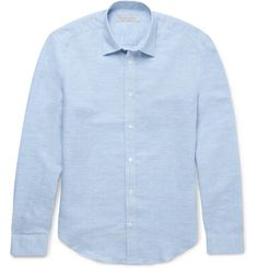 GIEVES & HAWKES BLUE CUTAWAY-COLLAR CHECKED LINEN-BLEND SHIRT. #gieveshawkes #cloth #casual shirts